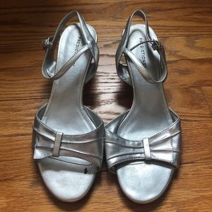 Metallic Silver Kitten Heels